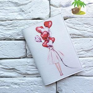 Главное фото паспортная обложка Девушка с шариками - сердечками. Коллекция обложек для загранпаспорта Сердечки!