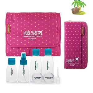 Главное фото розовый в горошек подарочный набор: косметичка, органайзер и набор бутылочек. Товары для отдыха. Интернет-магазин В Отпуск