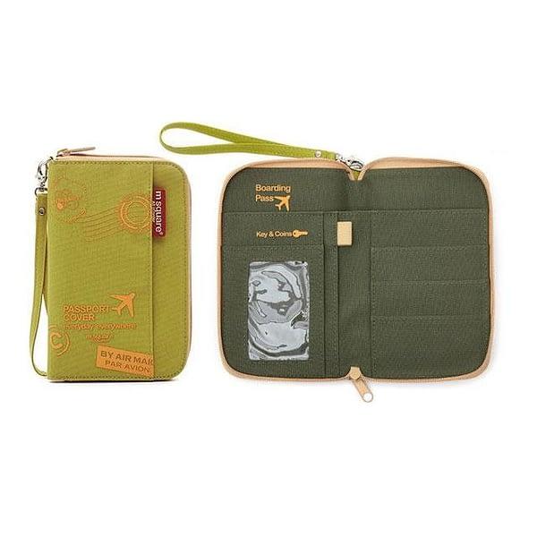 DOP-047 Компактный органайзер для документов, посадочных талонов, билетов, купюр и паспортов зеленый принт фото в развороте