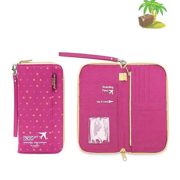 Фото тканевый дорожный органайзер для документов розовый в горошек с разворотом. Товары для отдыха. Интернет-магазин В Отпуск
