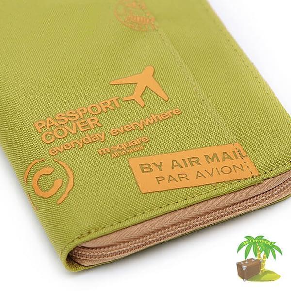 Фото ткань зеленого дорожного органайзера для документов с принтом. Товары для отдыха. Интернет-Магазин В Отпуск