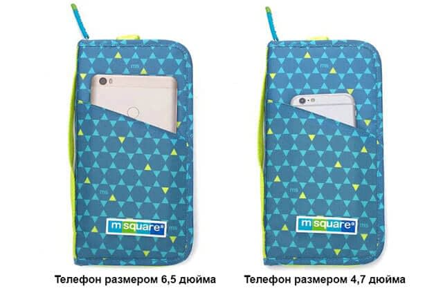 Фото вид разных размеров телефона в кармане паспортного органайзера. Товары для отдыха. Интернет-магазин В Отпуск