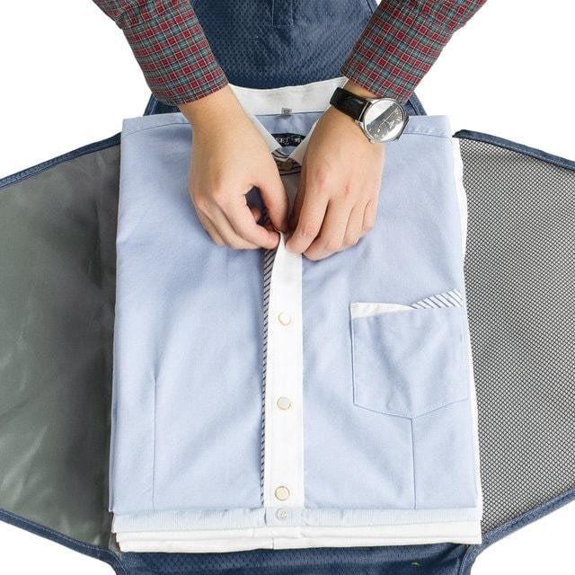 PO-02 Синий органайзер для рубашек, юбок и брюк. Фото 1 упаковка рубашки. Товары для отдыха. Интернет-магазин В Отпуск