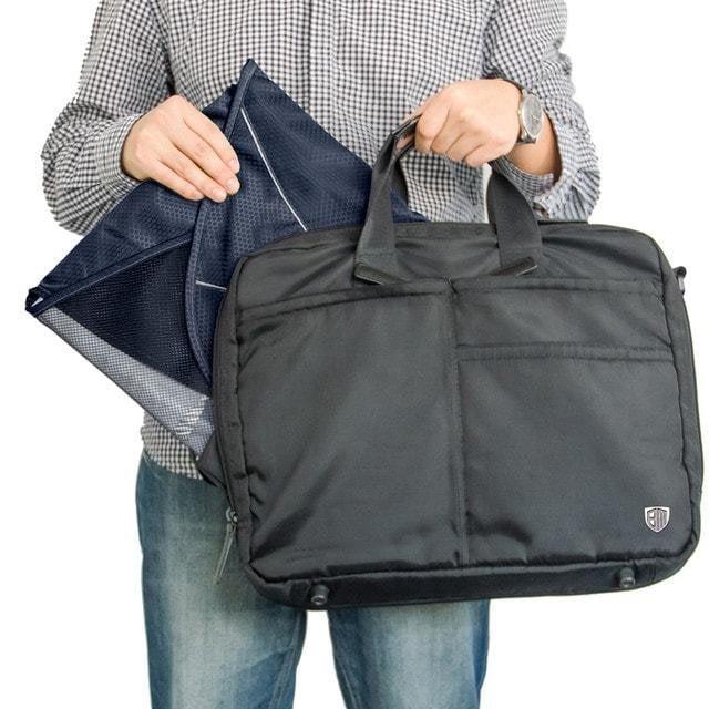 PO-02 Синий органайзер для рубашек, юбок и брюк. Фото в сравнении с сумкой. Товары для отдыха. Интернет-магазин В Отпуск