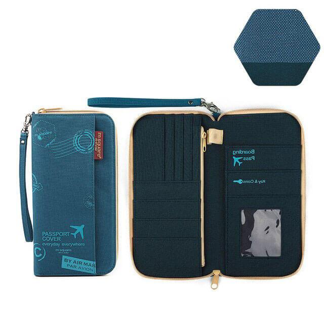 Фото тканевый дорожный органайзер для документов синий принт с разворотом. Товары для отдыха. Интернет-магазин В Отпуск